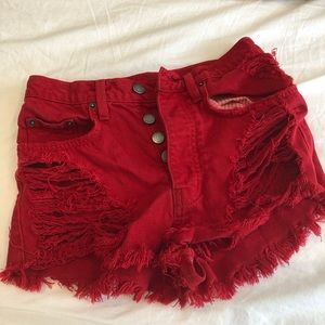 LF red super distressed high waisted shorts
